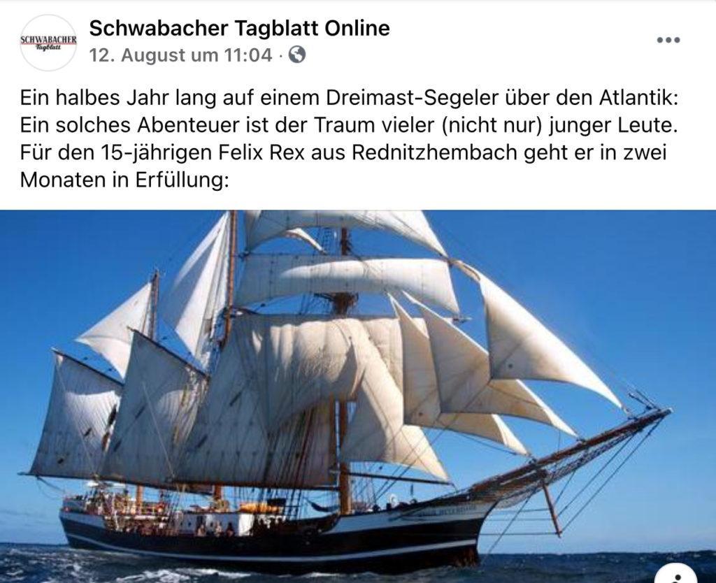 Schwabacher Tagblatt berichtet über Klassenzimmer unter Segeln 2021/22